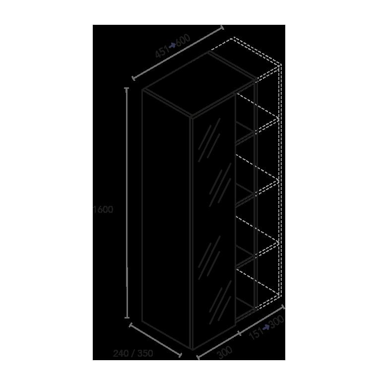 Columna de 1 puerta espejo y ancho de huecos a medida