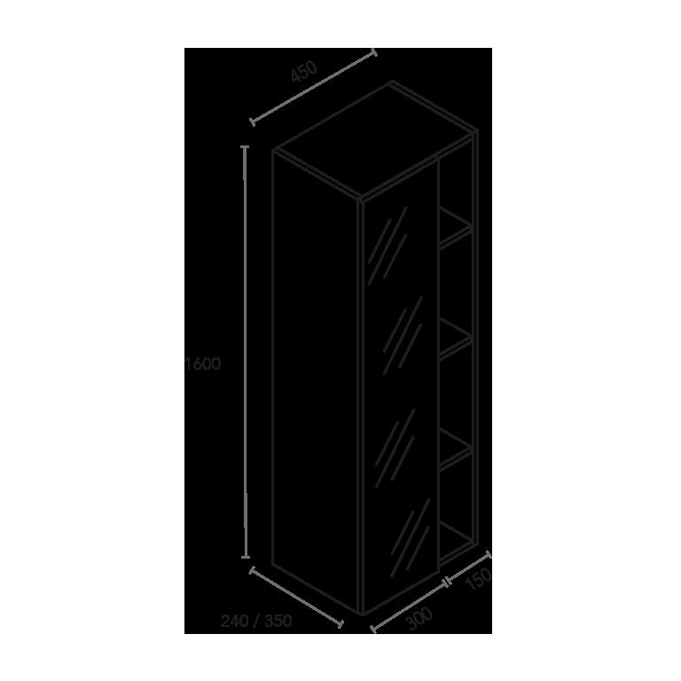 Columna de 1 puerta espejo y 4 huecos