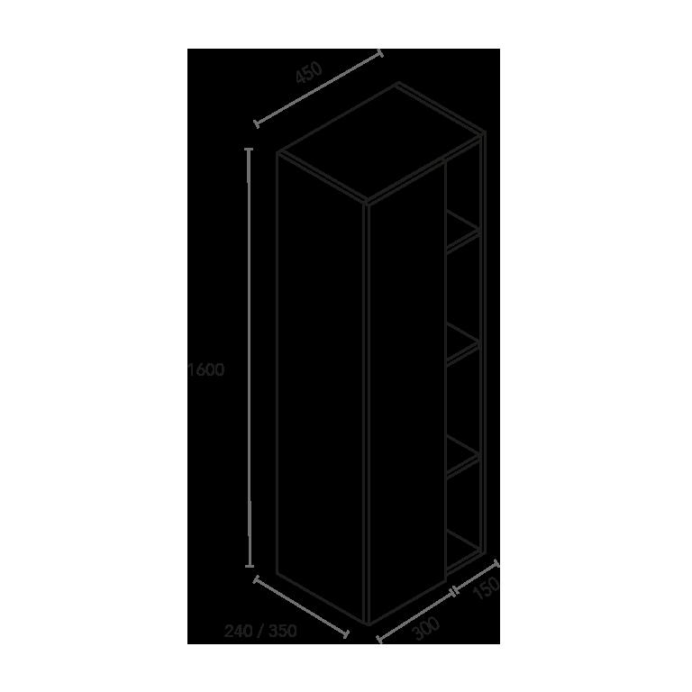 Columna de 1 puerta y 4 huecos