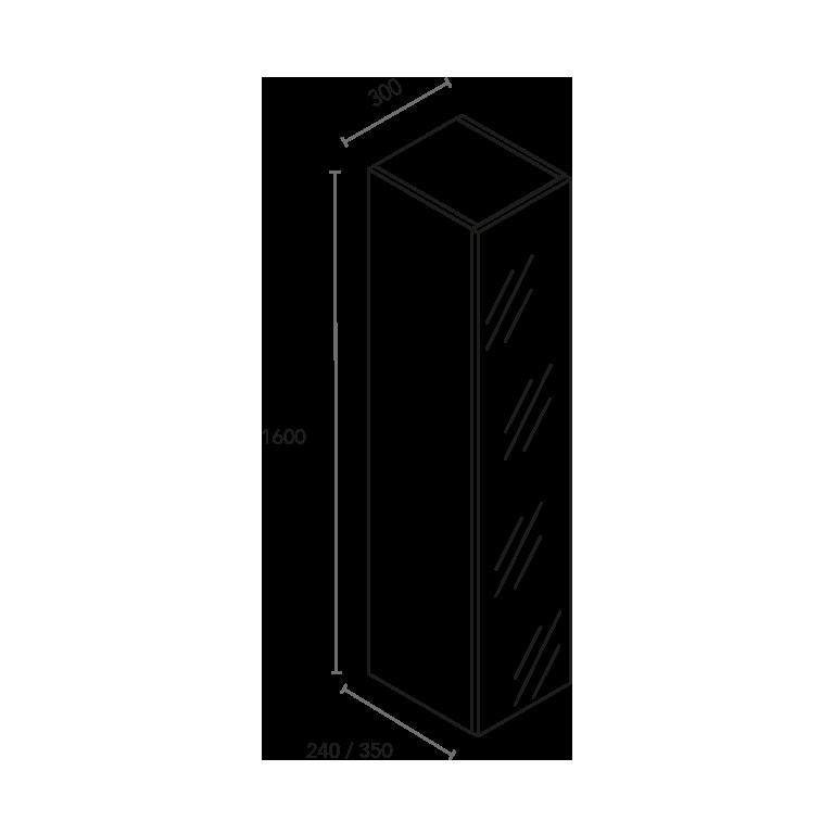 Columna de 1 puerta espejo