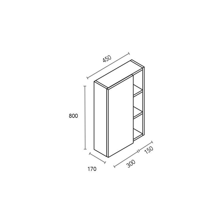 Módulo de 1 puerta y 3 huecos