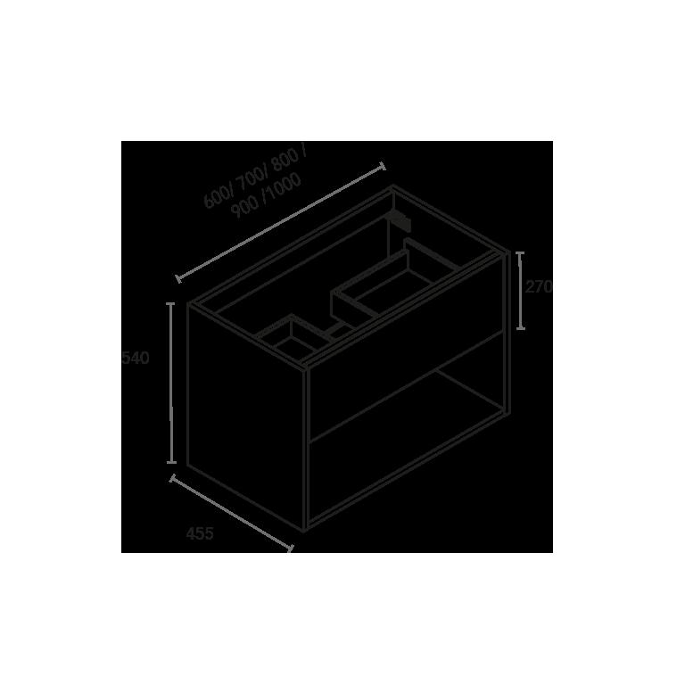 Bajo Lavabo para mueble centrado de 1 cajón y hueco