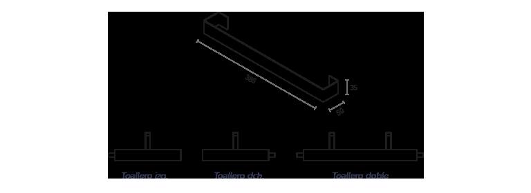 Toallero metálico lateral mecanizado en faldón