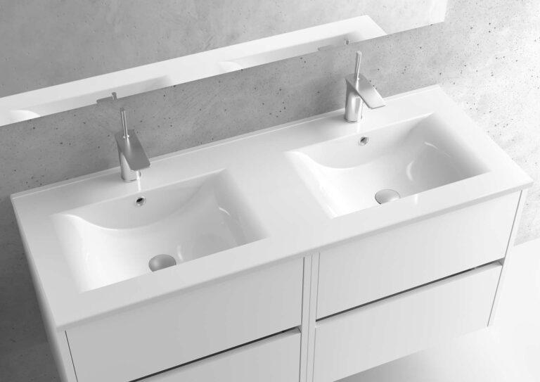 Encimera de porcelana lavabo doble – Serie BERLÍN