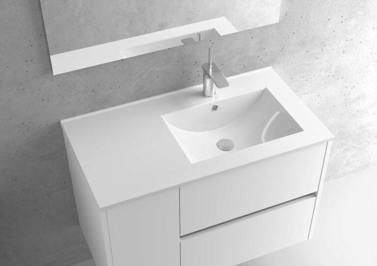 Encimera de porcelana lavabo derecho – Serie BERLÍN