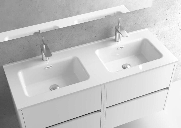 Encimera de porcelana lavabo doble- Serie MUNICH